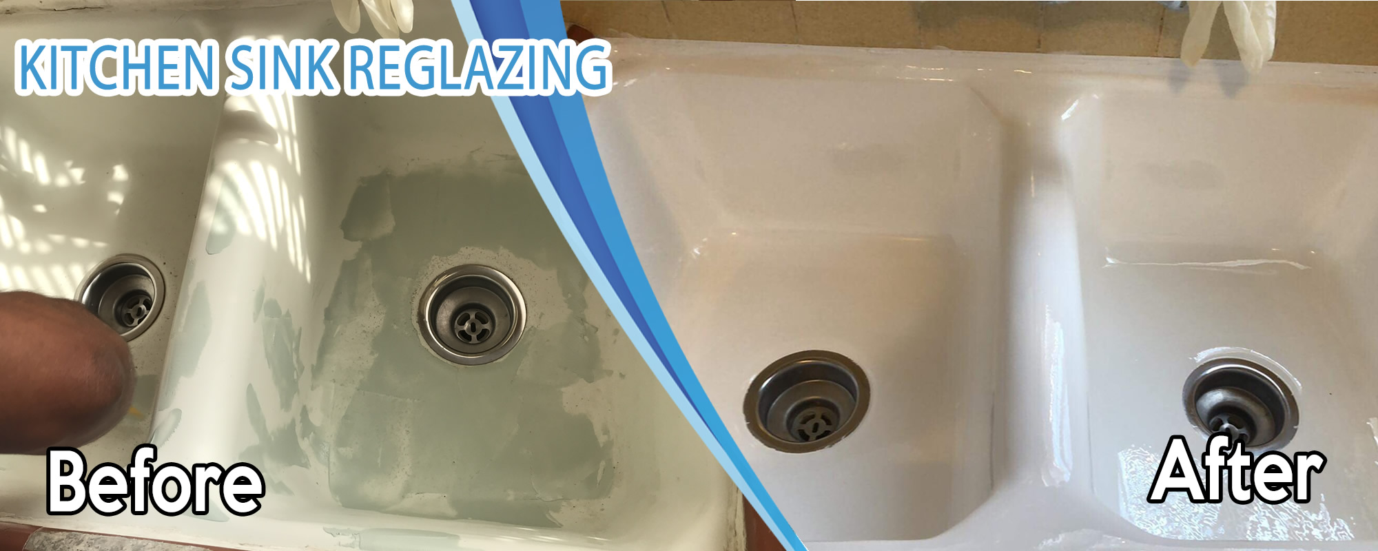 before and after a sink reglazing in pasadena california